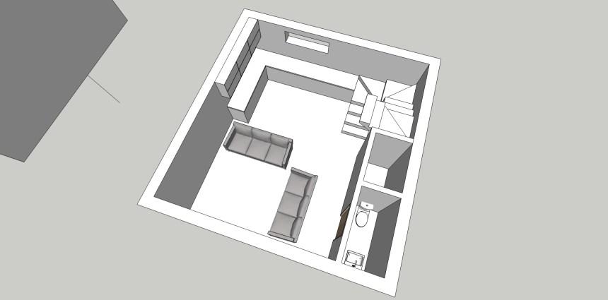 Downstairs 3D render aerial