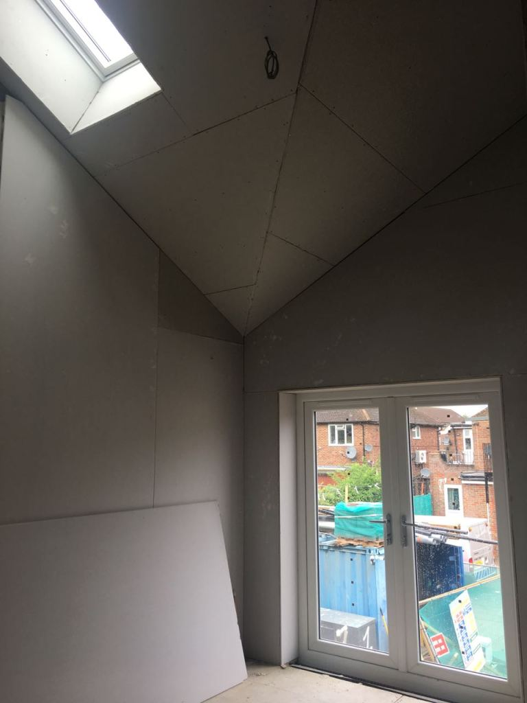 Bedroom vaulted ceiling plasterboards fitted