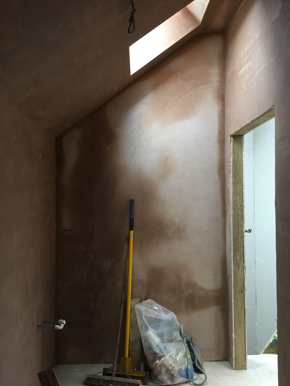 Bathroom plaster skimmed