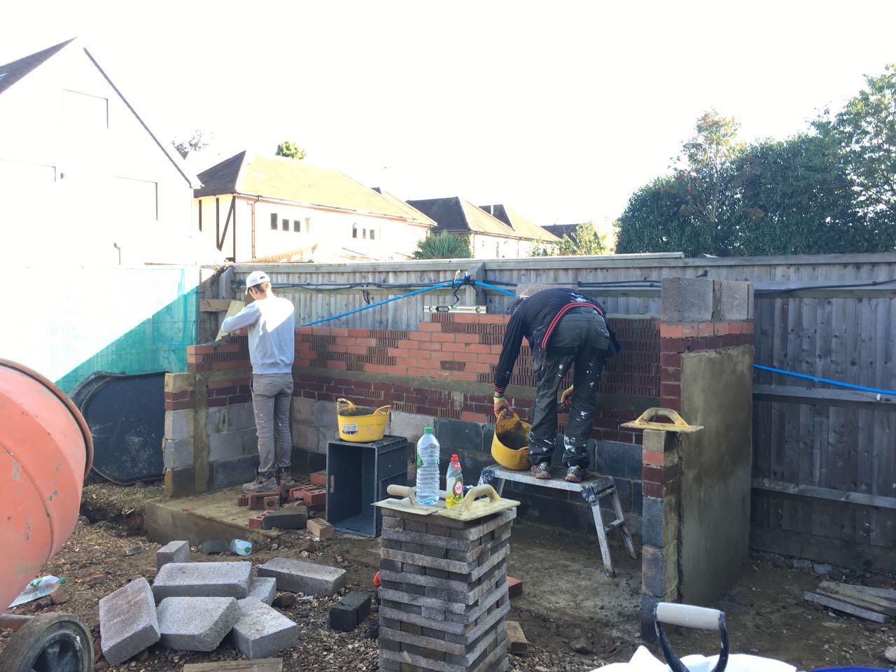 Bin store construction brickwork