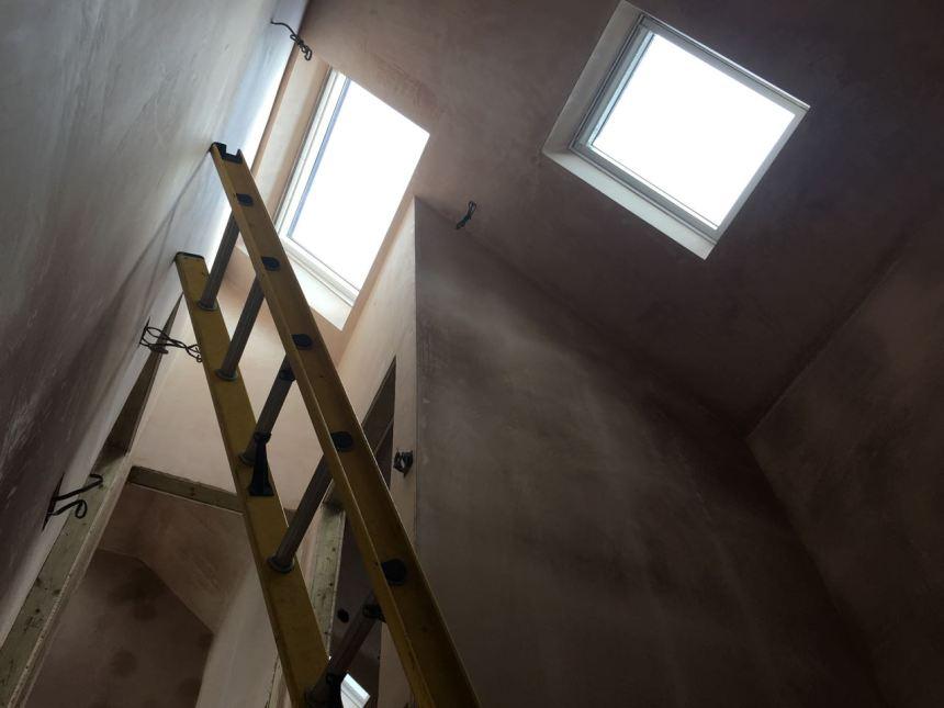 Stairwell plaster skimmed
