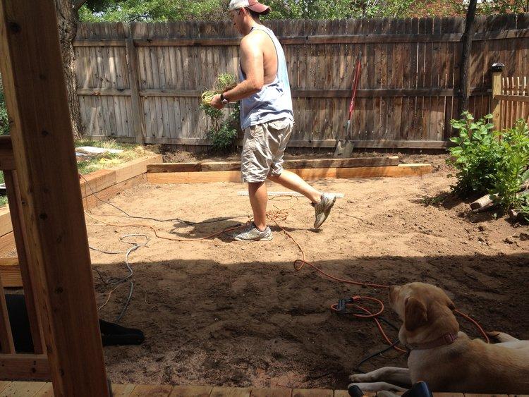 Flagstone patio preparation