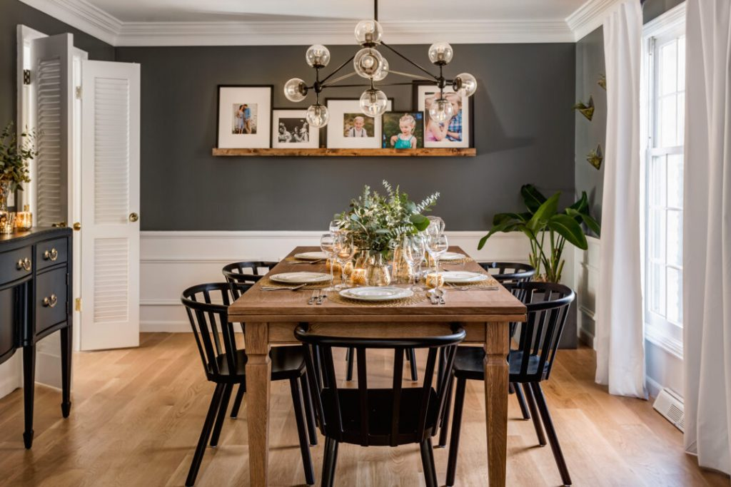 Modern dining room transformation with a moody wall color | Building Bluebird #orc #bhgorc #diningroomreveal