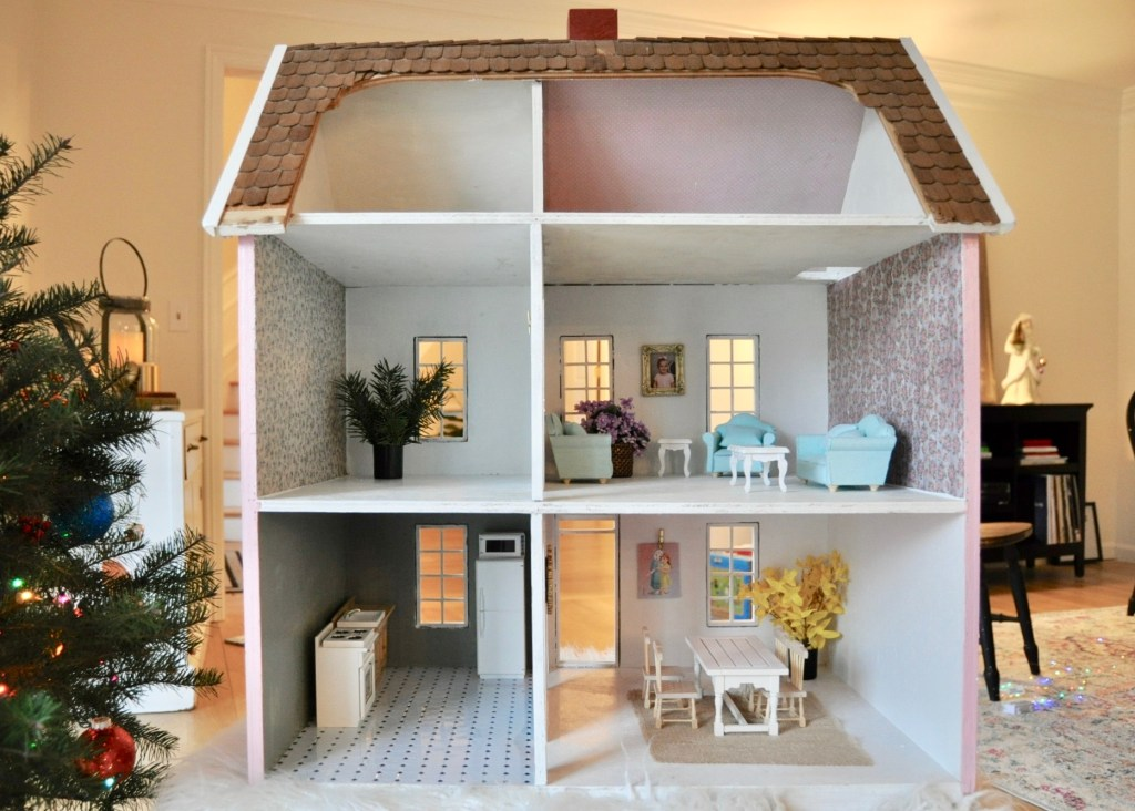 Renovated dollhouse interior with girly designs
