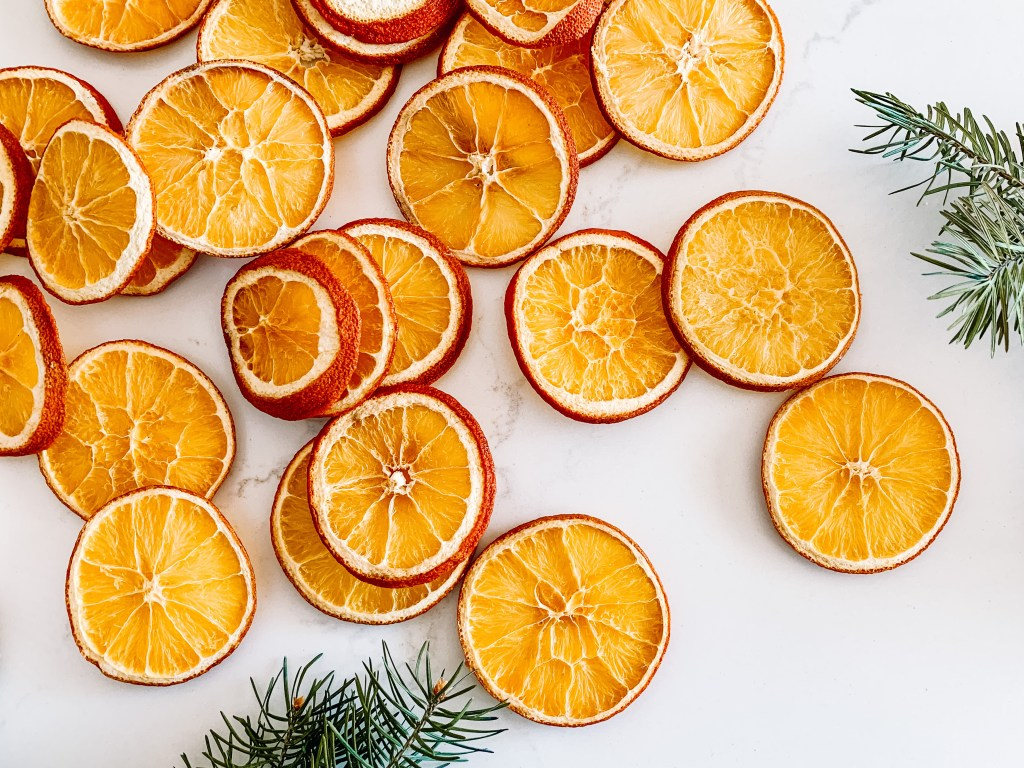 Holiday decorating with dried oranges