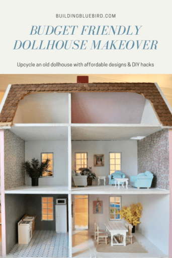 Budget friendly dollhouse makeover that any little girl is sure to love! Furniture sources & DIY tips to decorate each room. #dollhouseminiature #diy #dollhousemakeover