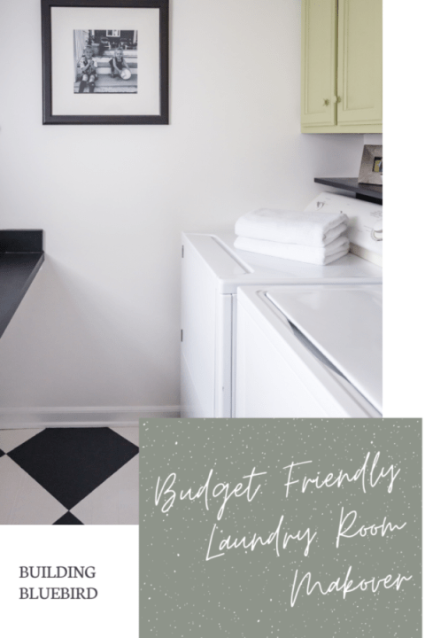 Budget-friendly laundry room makeover with easy DIY projects to modernize a space | Building Bluebird #paintedfloors #rustoleum #behrpaint #backtonature