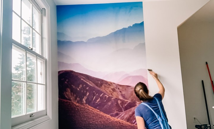 Hanging a Rebel Walls Gradient Mountain mural on the wall | Building Bluebird  #rebelwalls #tutorial #wallpaper #diy