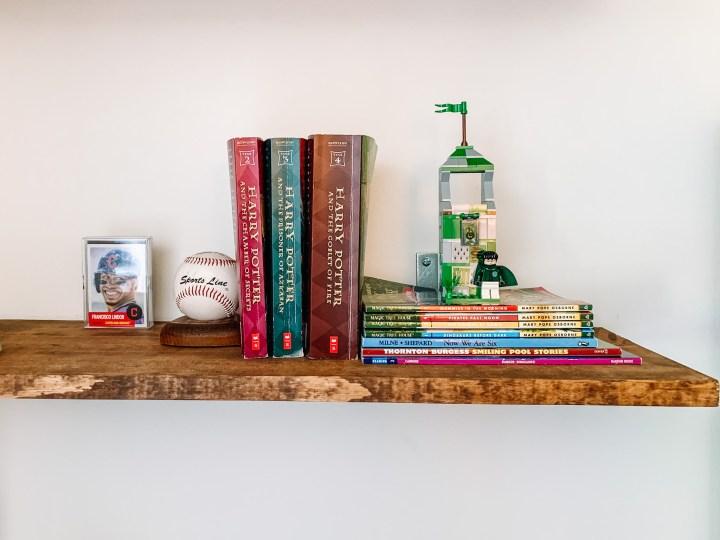 Harry Potter styling on open shelves