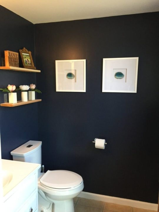 Half bathroom makeover with Hale Navy by Benjamin Moore | Building Bluebird #paint #moodypaint