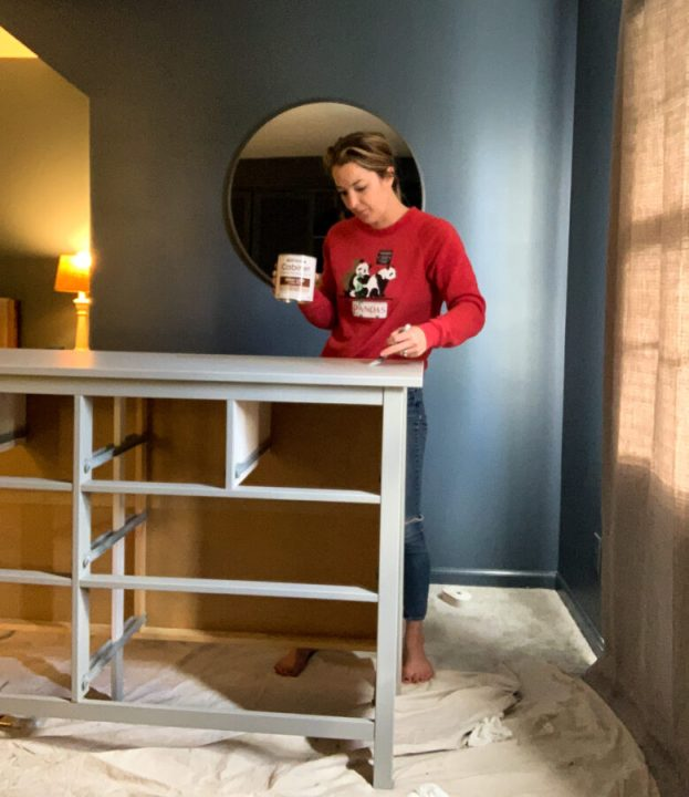 Using Rustoleum cabinet transformations, I applied the second base coat on the dresser | Building Bluebird #hemnes #ikeahack #rustoleum #diy