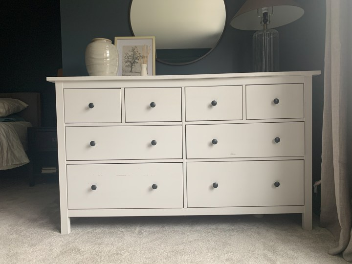 White IKEA Hemnes dresser before adding trim and painting it gray | Building Bluebird #ikeahack #moodybedroom #easydiy