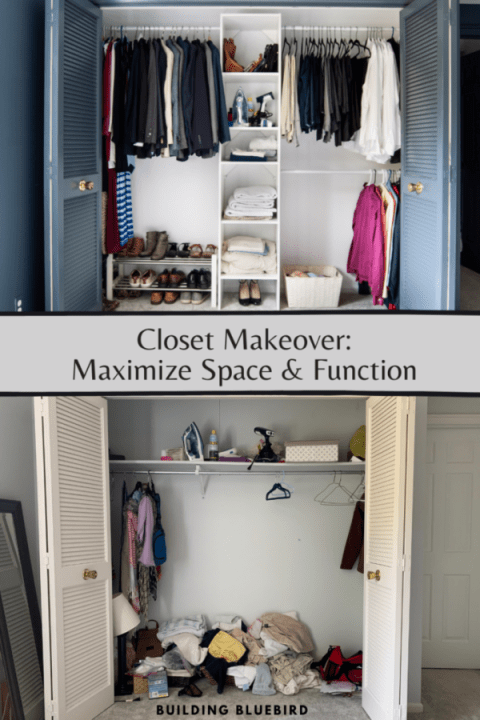 How I installed a Closetmaid closet organization system to maximize function & space in our master bedroom | Building Bluebird #homeedit #orc #bhgorc #declutter