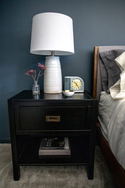 Simple nightstand decor with family photos for a personal touch | Building Bluebird #moodybedroom #moodypaint #bhgorc