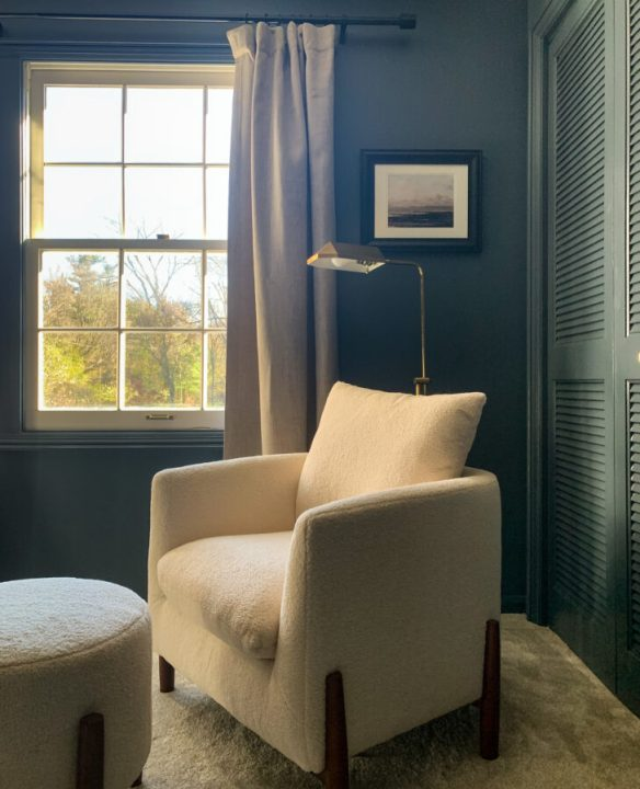Cozy sitting area in our master bedroom with a thrifted lamp and Studio McGee chair | Building Bluebird #threshold #studiomcgee #orc #bhg