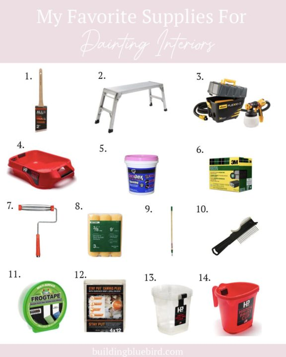 My favorite (and most frequently used) paint supplies for our home projects   Building Bluebid #paintsupplies #handypaintpail #paintprojects