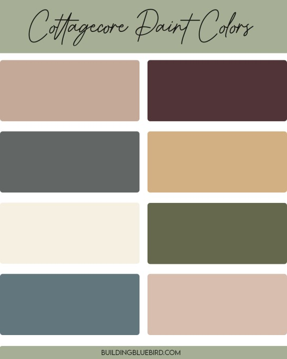 The perfect cottagecore colors to try. in your home!   Building Bluebird #mutedtones #warmpaintcolors #historicpaintcolors #grandmillennial