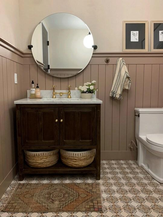 Dead Salmon by Farrow and Ball and bathroom design by Jenny Komenda   Building Bluebird #grandmillennial #cottagecore #juniperhome