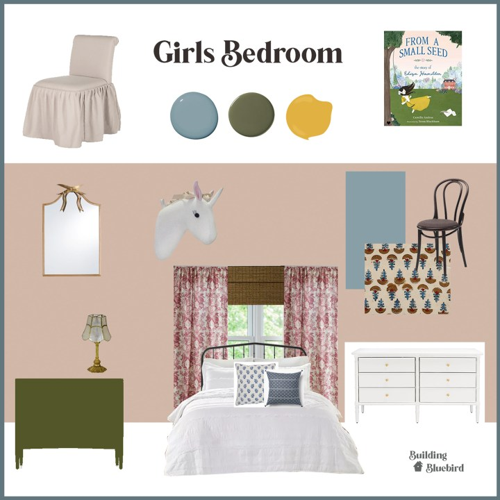 Girls vintage bedroom mood board   Building Bluebird #bhgorc