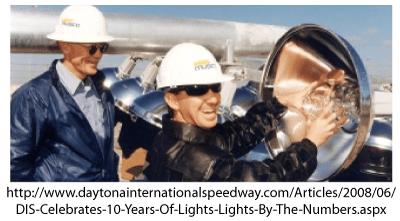 The size of the metal-halide lights at Daytona