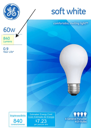 The front of a non-LED lightbulb box: The important number is the lumens, not the wattage.