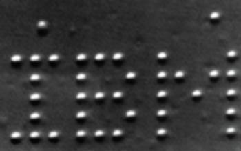 The IBM logo made using 35 xenon atoms.