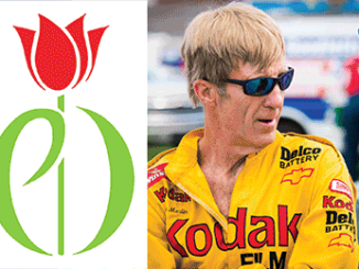 A montage of Sterling Marlin, a micrograph of a motor neuron, the Parkinson's Disease tulip and the #14 Late Model