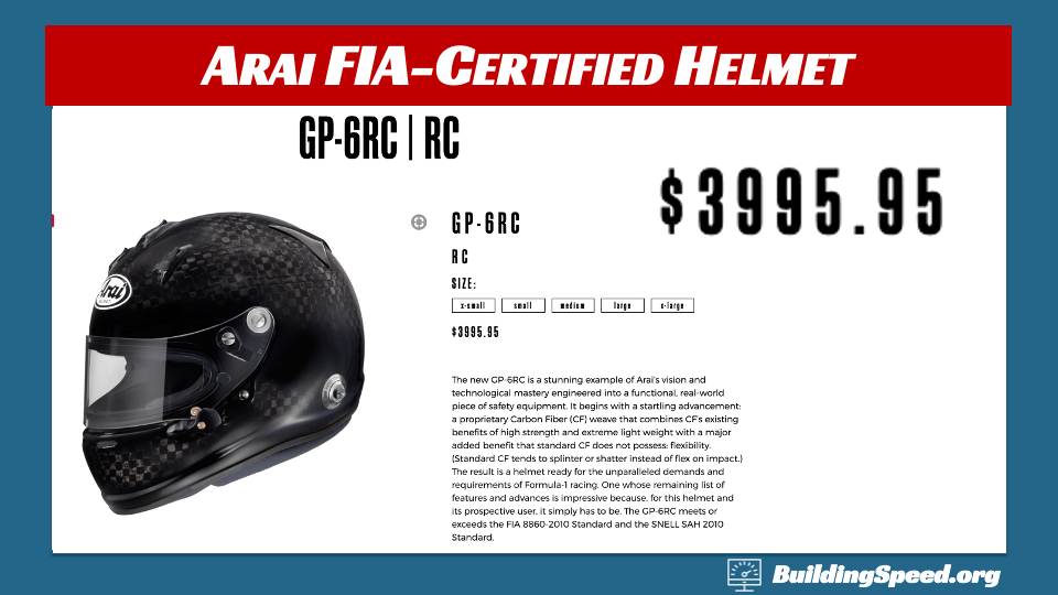 A photo of the top-of-the-line Arai helmet