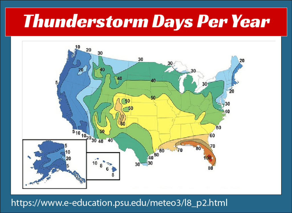 A map of the U.S. showing how many days of thunderstorms areas around the US get each year