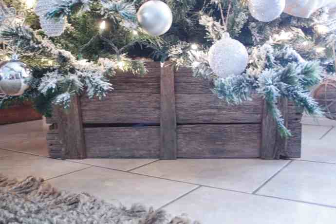 DIY Christmas Tree Crate Skirt