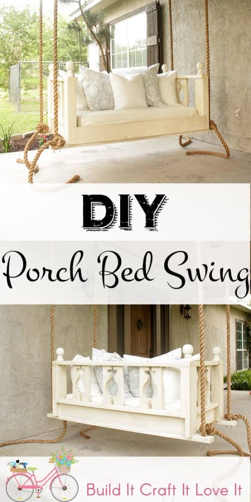 DIY Proch Bed Swing - Build It Craft It Love It - Free Plans for this beautiful porch bed swing!