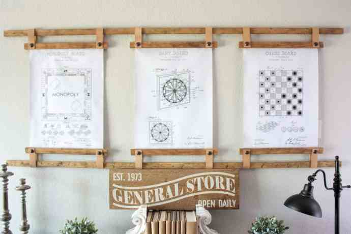 DIY Leather and Wood Wall Hanging Prints
