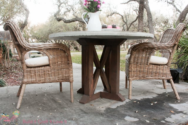 Round Concrete Top Dining Table With X Base