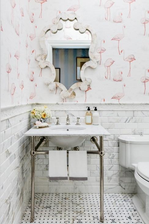pink flamingo bathroom wallpaper