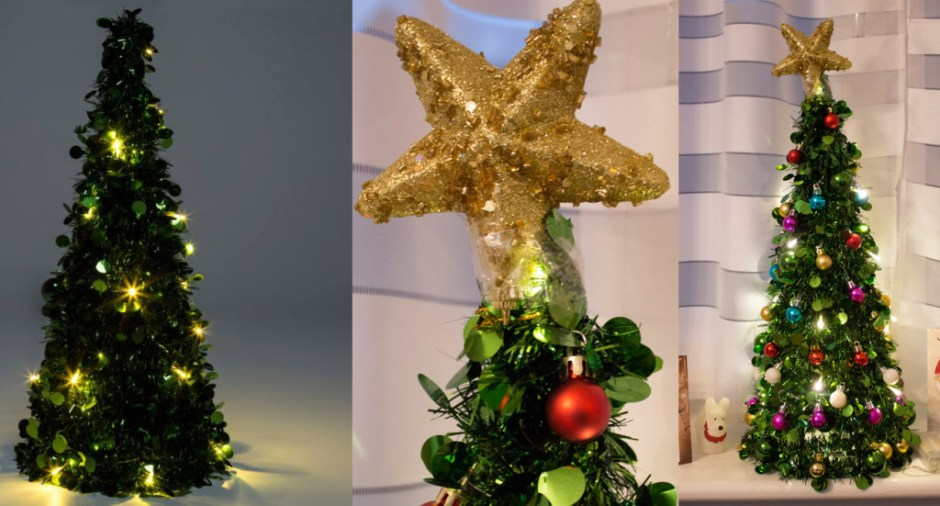 B&Q tree before and after its Poundland makeover
