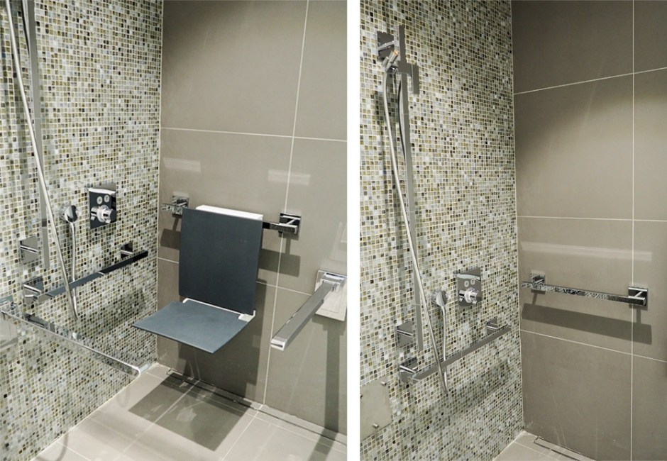 The HEWI shower with and without the shower seat