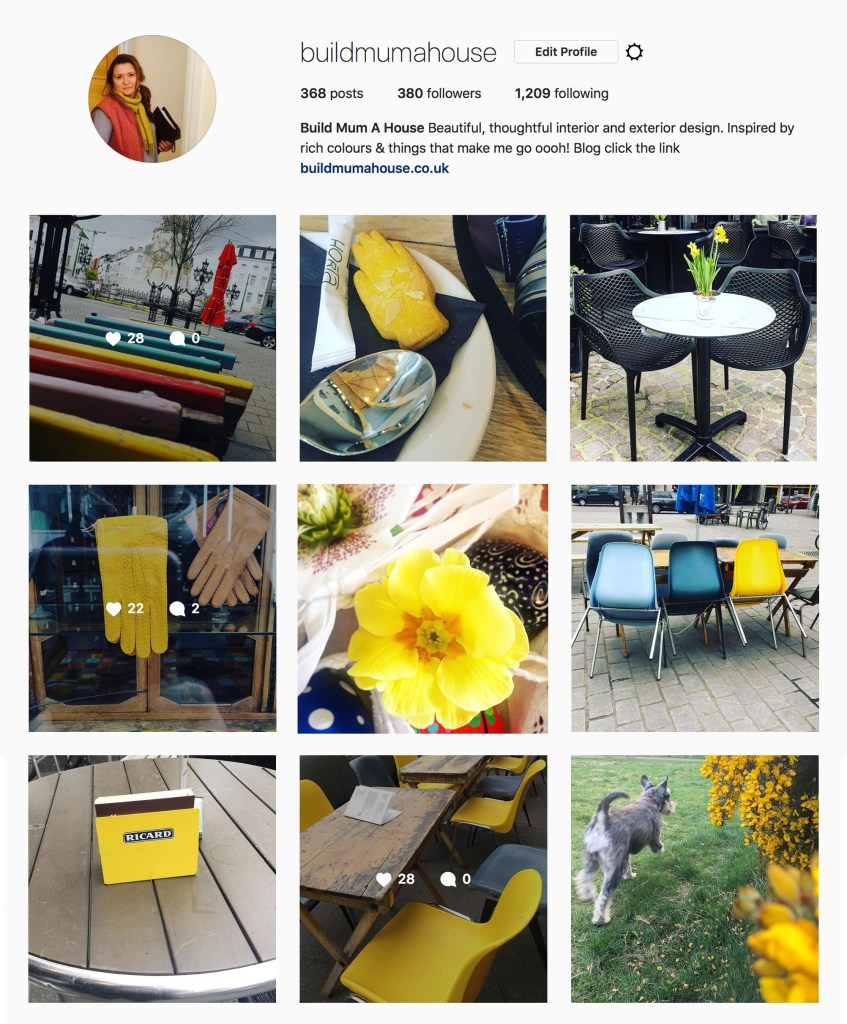 Buildmumahouse Instagram feed, #yellow, #happy, Jola Piesakowska, how to make a mood board