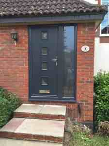 4 square grey composite door with side panel
