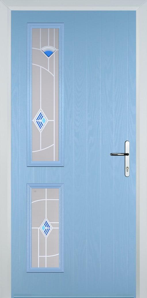 duck egg blue door with murano glass