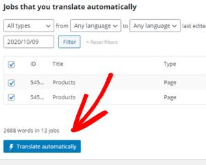 اختيار الترجمة التلقائية