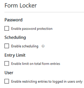 اعدادات Form Locker