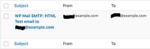 السجل مع قائمة الإدخالات منذ تمكين سجل البريد الإلكتروني