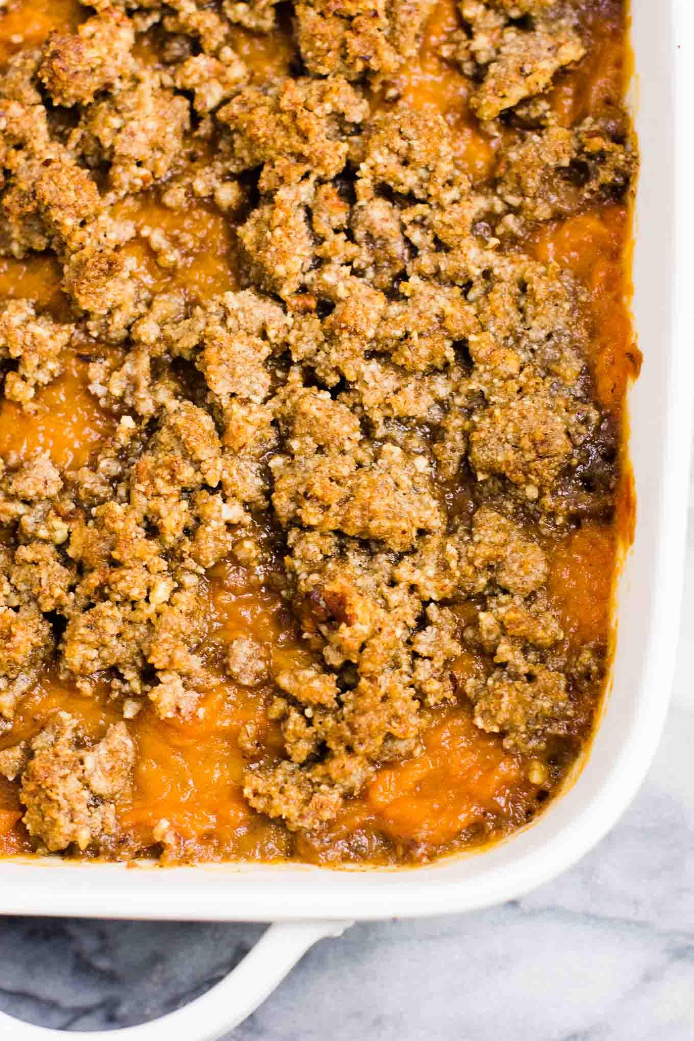 Vegan Sweet Potato Casserole With Pecan Crumble