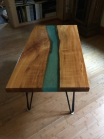 custom blue river table with fabricated hairpin legs