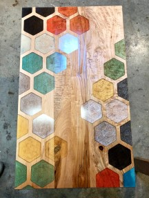 hexagonal design with different colors on table top