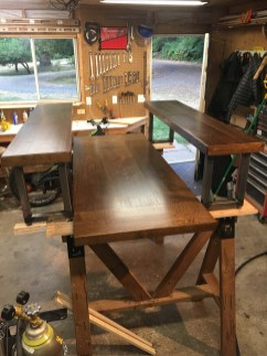 custom table and matching benches for customer seattle