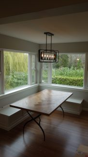installation and delivery of herringbone dining table