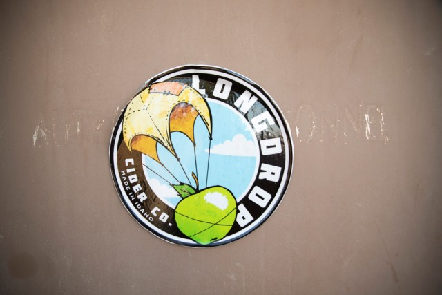 Longdrop sticker on cidery door
