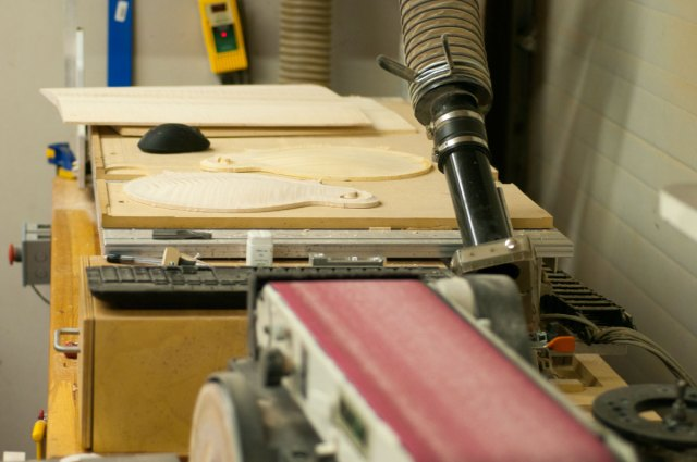Industrial sander at the Clark Mandolin wood shop