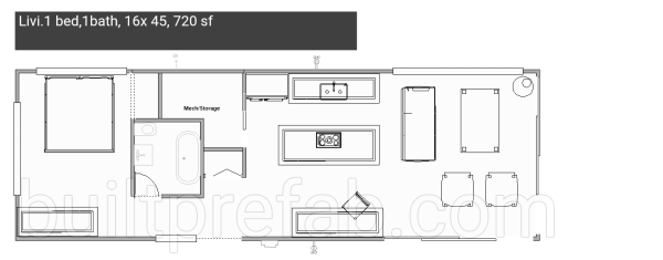 Built Prefab Modular Homes Floorplan Rendering